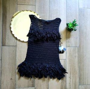 Worth Macrame Fringe Crochet Top blouse M